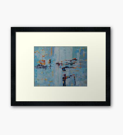 Abstract Pattern Blue Grey Shapes Geometric Doodle Art Framed Print