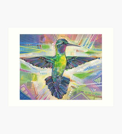 Warrior (Purple-throated mountaingem hummingbird) painting - 2016 Art Print