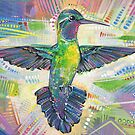 Warrior (Purple-throated mountaingem hummingbird) painting - 2016 by Gwenn Seemel