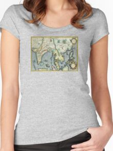Southern Asian Continent Map 1600s Women's Fitted Scoop T-Shirt