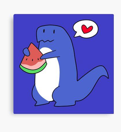 Dinosaur Love Watermelon Canvas Print