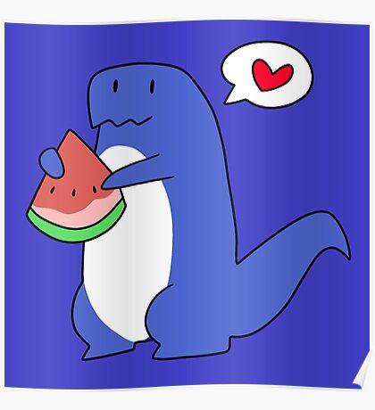 Dinosaur Love Watermelon Poster