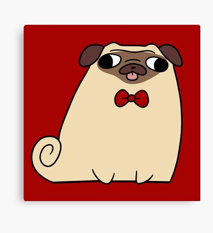 Red Bow Tie Pug Canvas Print