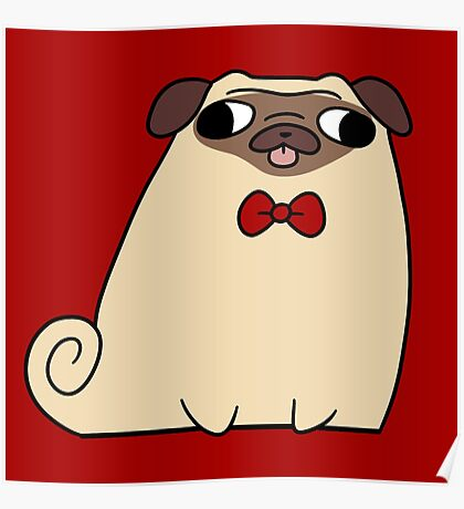 Red Bow Tie Pug Poster