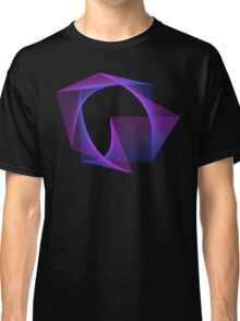 Abstract Geometry Line Art Neon Distorted Square Classic T-Shirt