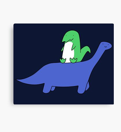 T-rex and Long Neck Dino Canvas Print