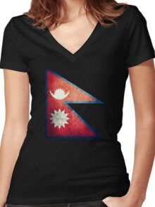 Nepal - Vintage Women's Fitted V-Neck T-Shirt