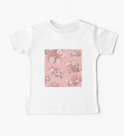 Shabby chic,rustic,vintage,retro,floral,pattern,roses,pink shades, green,white,red,modern,trendy,girly Baby Tee