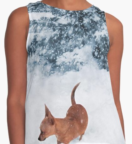 Chihuahua in the Snow - Puppy Winterscape Contrast Tank