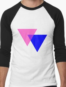 Bisexual Pride Symbol- Triangles Men's Baseball ¾ T-Shirt