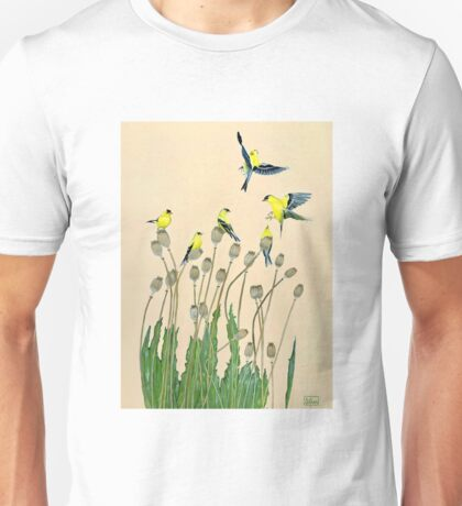 American goldfinches and poppies Unisex T-Shirt