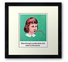 Straw Blowing Girl Framed Print