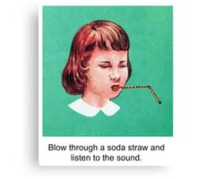 Straw Blowing Girl Canvas Print