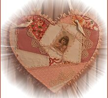 Embroidered Crazy Quilt Patchwork Heart  by Sandra Foster