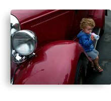 I'm guarding Daddy's car........! Canvas Print
