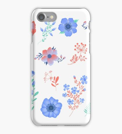 Floral Set of Beautiful Flowers and Leaves. Design elements for decoration iPhone Case/Skin