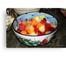 A Salad of Fruit in a Painted Bowl Canvas Print