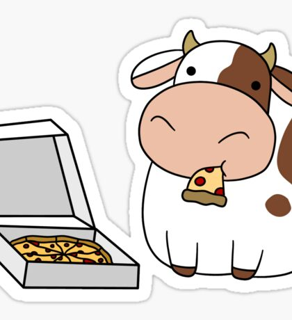 Cow with a Box of Pizza Sticker