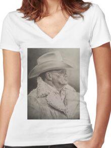 Bum Phillips Portrait Women's Fitted V-Neck T-Shirt