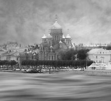 View from the Neva b&w by peaky40