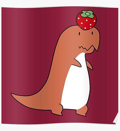 Strawberry T-Rex Poster