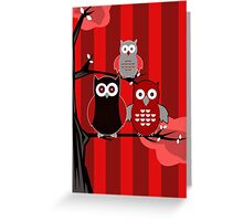 Red Owls Greeting Card