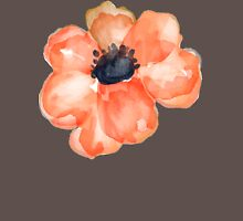 Watercolor Flower Salmon Womens Fitted T-Shirt