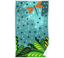 Dragonfly in the rain, hand draw, illustration, cute background, color doodle background. Poster
