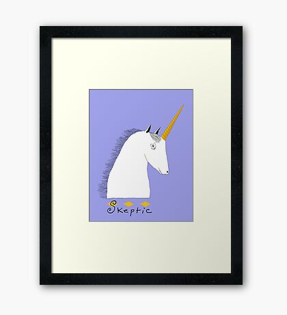 Skeptical Unicorn  Framed Print