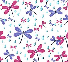 seamless pattern with dragonflies and rain drops by Ann-Julia