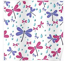 seamless pattern with dragonflies and rain drops Poster