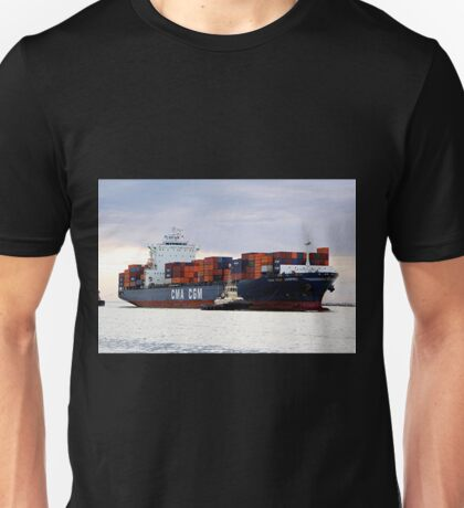 Container cargo ship and tug Unisex T-Shirt