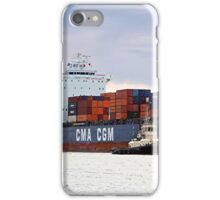 Container cargo ship and tug iPhone Case/Skin