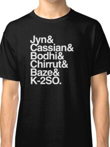 rogue one team helvetica list typography meme (black) Classic T-Shirt