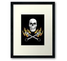 Flaming Mechanic Skull Framed Print