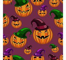 seamless pattern halloween pumpkin with hat Photographic Print