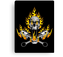 Flaming Mechanic Skull and Pistons Canvas Print