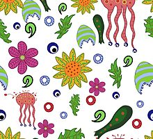seamless pattern with fantastic flowers and leaves by Ann-Julia