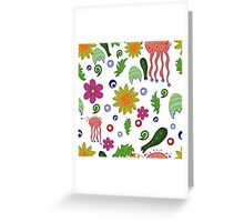 seamless pattern with fantastic flowers and leaves Greeting Card