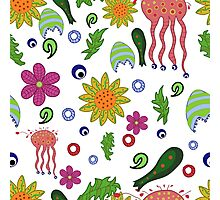 seamless pattern with fantastic flowers and leaves Photographic Print