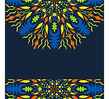 vector modern pattern with vivid elements on a dark background, hand draw, color doodle background Photographic Print