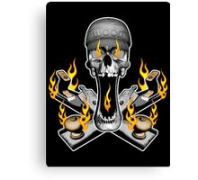 Flaming Woodworker Skull Canvas Print