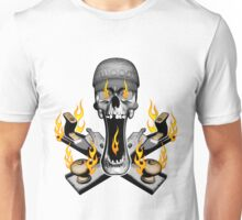 Flaming Woodworker Skull Unisex T-Shirt