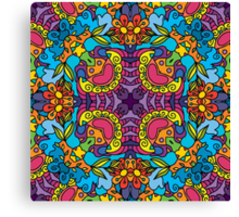 Psychedelic jungle kaleidoscope ornament 32 Canvas Print
