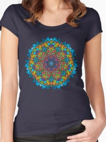Psychedelic jungle kaleidoscope ornament 33 Women's Fitted Scoop T-Shirt