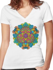 Psychedelic jungle kaleidoscope ornament 34 Women's Fitted V-Neck T-Shirt