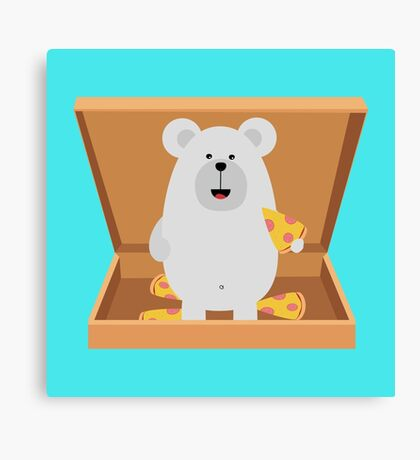 Polar Bear in Pizzabox Canvas Print