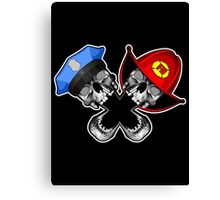 Police and Fire Skulls Canvas Print