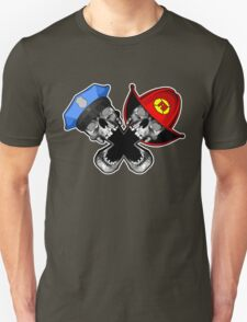 Police and Fire Skulls T-Shirt