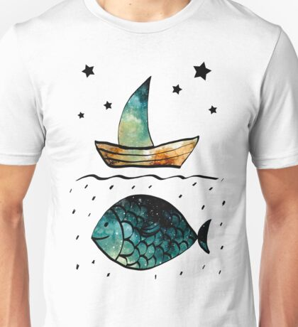 Watercolor Starry Sky, Fish and Sail Boat Unisex T-Shirt